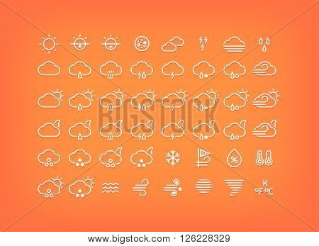 White weather icons set. Thin line weather symbols with shadow. Weather forecast elements and signs for mobile apps and web design.