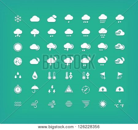 White silhouette weather icons set. Weather forecast design elements.