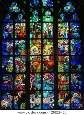 Stained Glass In Prague Cathedral By Alphonse Mucha