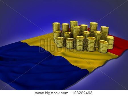 Romanian economy concept with national flag and stack of golden coins on blue background - 3D render