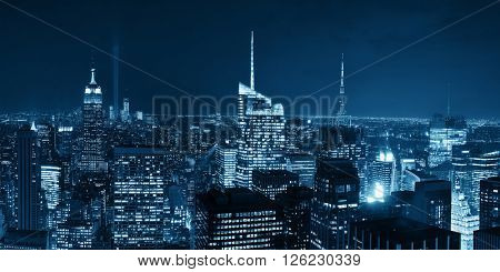 New York City night rooftop view with urban architectures panorama