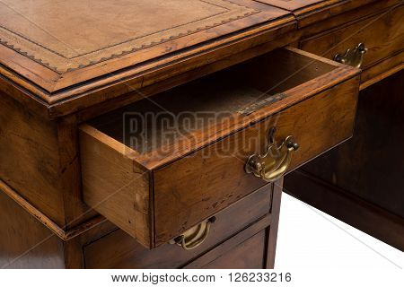 An ajar drawer of an antique solid wood office table. poster
