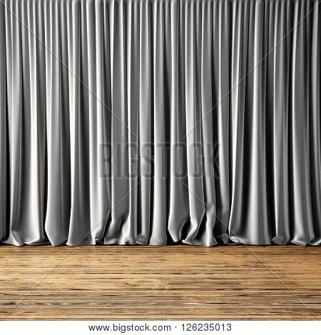 Concept picture of highly detailed gray curtains. Photo of backstage with textile curtains and wood floor. Abstract interior background. Square mockup. 3d rendering