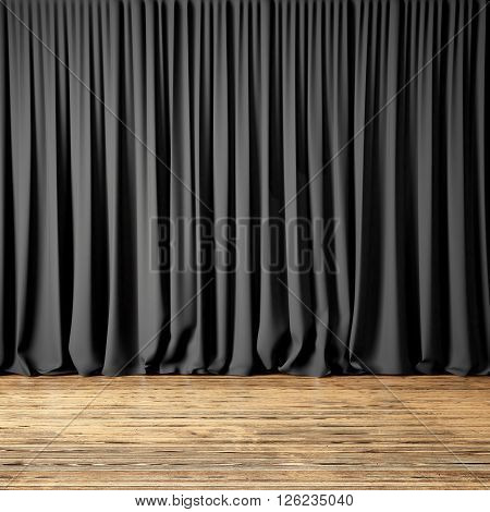 Concept picture of highly detailed black curtains. Photo of backstage with textile curtains and wood floor. Abstract interior background. Square mockup. 3d rendering