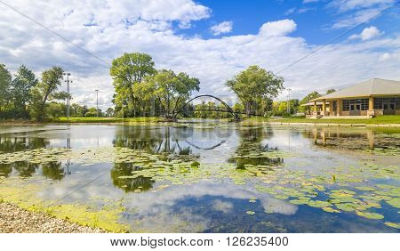 A small pond and bridge in Madison Wisconsin