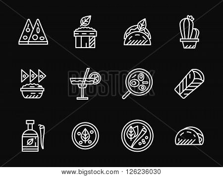 Restaurant with mexican cuisine. Traditional meal. Mexican food. Set of white simple line vector icons on black background. Web design elements for site, business, mobile app.