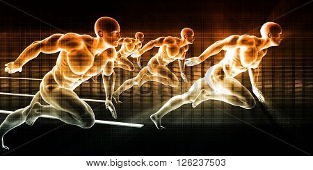 Sports Background with Athletes in Sporting Event 3D Illustration Render