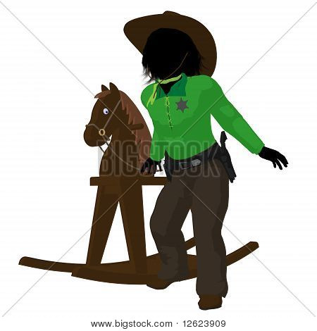 Teen cowboy with a rocking wooden horse on a white background poster