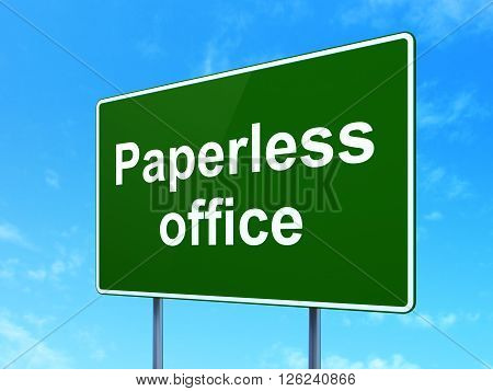 Business concept: Paperless Office on road sign background