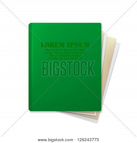 Green folder with paper. Folder with documents. File. Document folder. Document folder isolated on white background. Vector file.