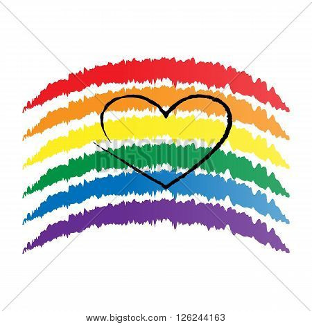 LGBT rainbow and heart outline vague brush strokes on white background.