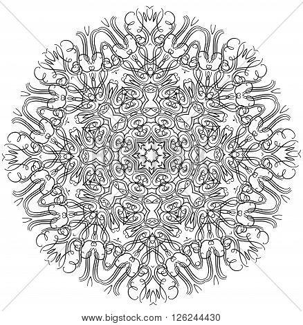 Mandala or snowflake for design, birthday mandala and other holiday mandala or snowflake, kaleidoscope mandala,  medallion mandala, yoga, india, arabic mandala. Geometric circle mandala or snowflake element