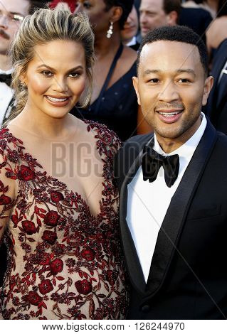 Chrissy Teigen and John Legend at the 88th Annual Academy Awards held at the Dolby Theatre in Hollywood, USA on February 28, 2016.