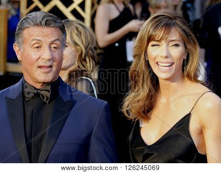 Sylvester Stallone and Jennifer Flavin at the 88th Annual Academy Awards held at the Dolby Theatre in Hollywood, USA on February 28, 2016.