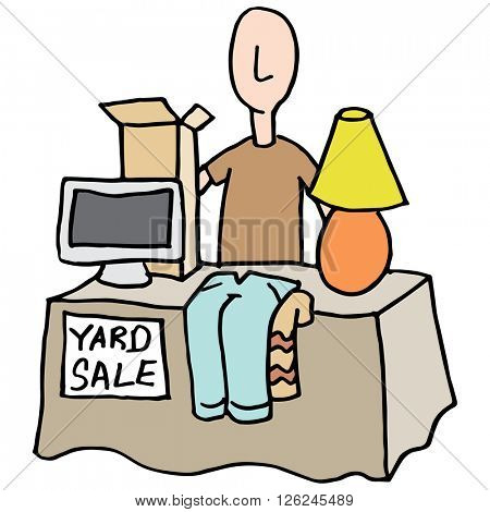 An image of a Man having a yard sale.