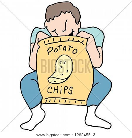 An image of a Man eating potato chips.