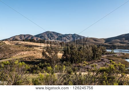 Wilderness with mountain range at Lower Otay Lake in Chula Vista, California.