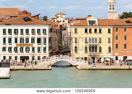 VENICE ITALY - JULY 10 2009: Ponte del Sepolcro bridge as seen from the lagoon
