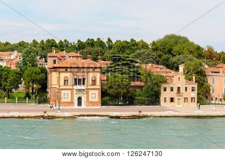 VENICE ITALY - JULY 10 2009: Villino Canonica Neo-Renaissance building as seen from the lagoon