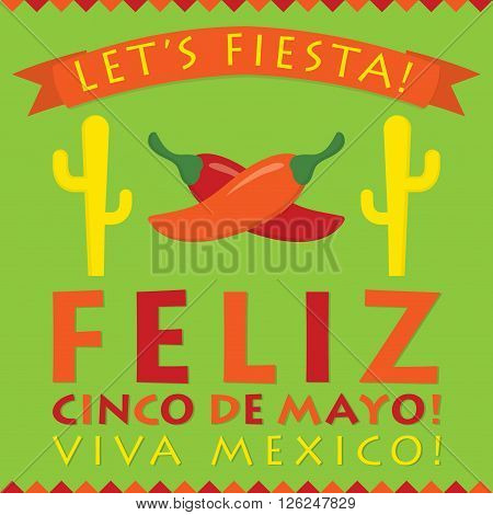 Retro Style Cinco De Mayo (5Th Of May) Card In Vector Format.