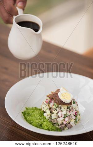 Traditional Russian kvass soup okroshka