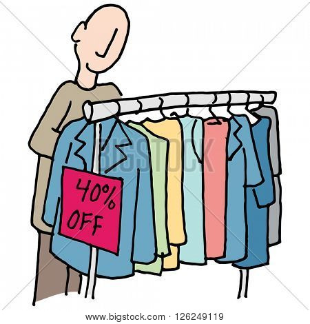An image of a Man shopping for clothes.