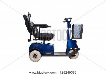 3 wheel motorised wheelchair with basket for disabled people isolated