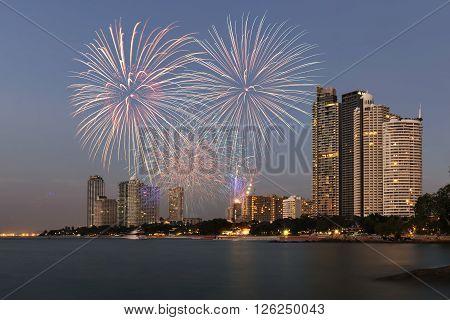 Bangkok city downtown at twilight, Bangkok , Thailand