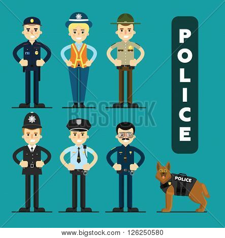 Policeman officer characters set. Police officers around the world.