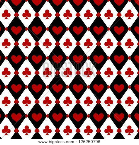 Seamless casino  poker background with red, black, white cards symbols. Seamless pattern is in the swatches palette.
