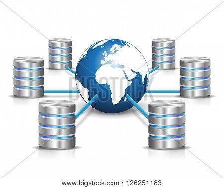 Global communication. Metallic database networking and blue earth globe isolated on white background