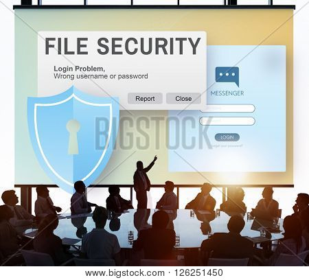 File Security Data Details Facts Information Media Concept