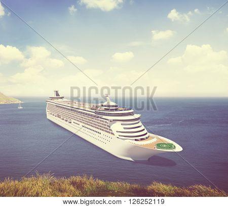 Yacht Cruise Ship Sea Ocean Tropical Scenic Concept