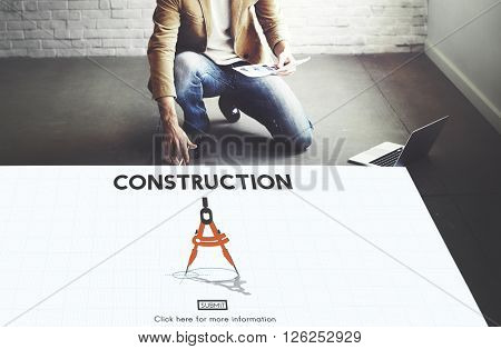 Construction Architecture Hardhat Helmet Site Concept