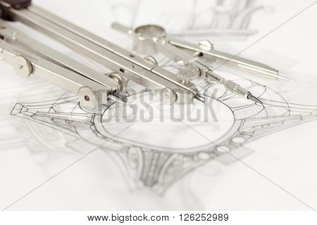 drawings of architectural details - columns element & compasses
