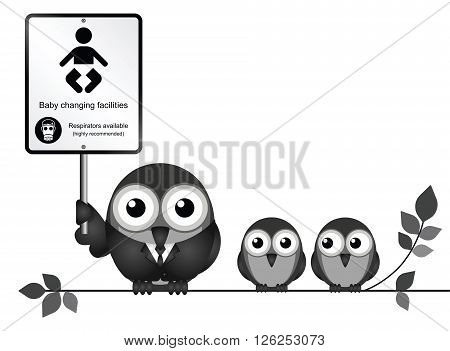 Comical baby changing facilities sign with parent and young birds perched on a branch isolated on white background