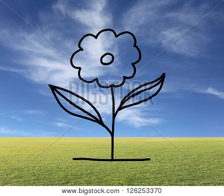 Hand drawn flower of Floriculture concept on natural background for Hobbies and leisure.