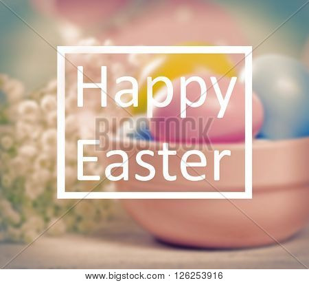 Happy Easter text on Easter composition background. Retro stylization