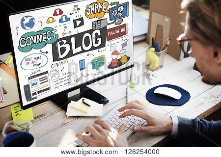 Blog Blogging Social Media Social Networking Online Concept