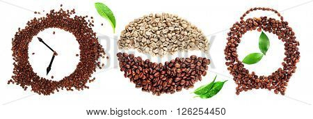 Colourful bright collage made of leaves and alarm clock of coffee beans, isolated on white