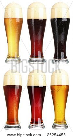 Different types of beer in glasses, isolated on white