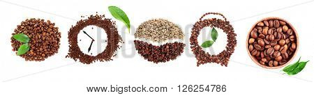 Colourful bright collage made of leaves and alarm clocks of coffee beans, isolated on white