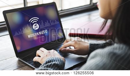 Modern Music Digital Listening Motion Stylish Concept