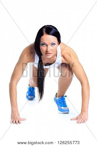 woman wearing sportswear over white background