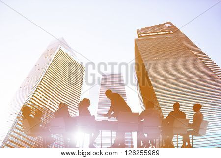 Back Lit Business People Planning Meeting Conference Concept
