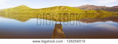 Dock On Lake Morning Mountains Nature Concept