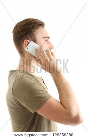 Young man speaking on the smart phone, isolated on white