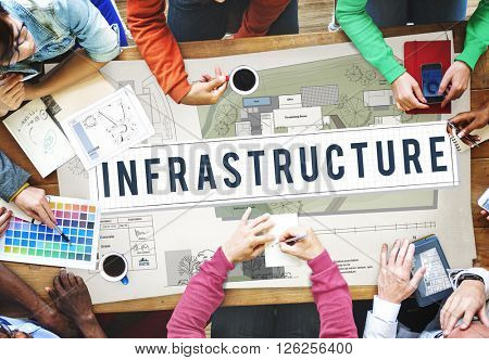 Infrastructure Interior Construction Blueprint Concept
