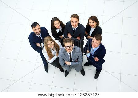 Top view of business people