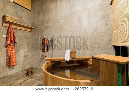 Onsen series : Asian bathroom with wooden bathtub